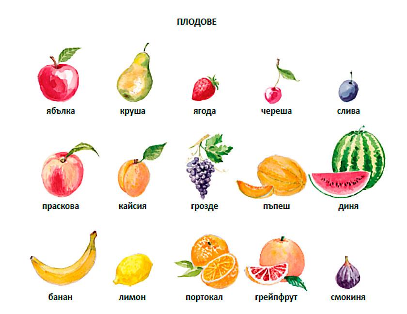фрукты на болгарском